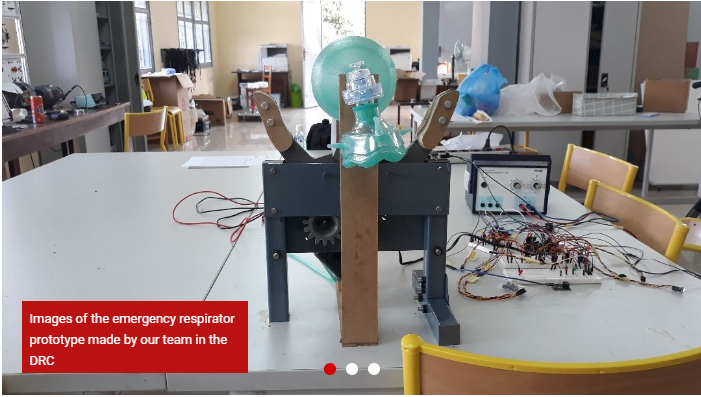 Design of artificial respirator made in DRC at the Loyola University of Congo